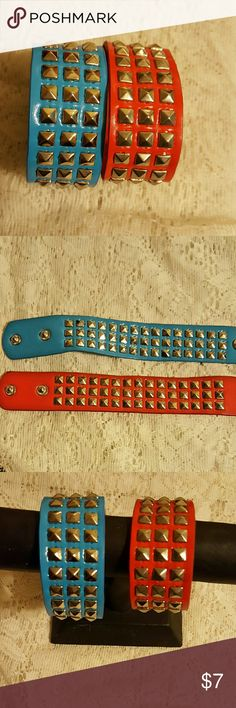 """2 Studded Bracelets You are looking at 2 punk style bracelets with silver studs, these measures approximately 9"""" with double snap enclosure, will fit 7-8"""" wrist comfortably..thanks for looking  NWOT Jewelry Bracelets"""