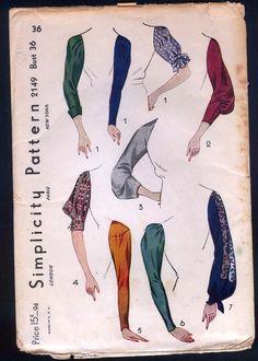 1930 Simplicity Pattern - Ladies' Set Of Sleeves