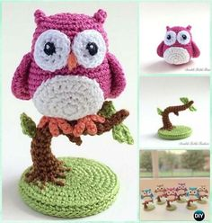 Crochet Owl on a Tree Free Pattern-Amigurumi Crochet Owl Free Patterns