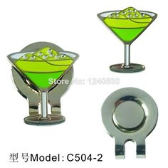2016 Brand New Free Shipping Green Martini Glass Golf Ball Marker - W/Bonus Magnetic Hat Clip 2pcs/lot