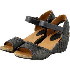 【La Habana Woven Wedge Sandals】植物藤編楔型涼鞋_BLACK - Bussola APAC