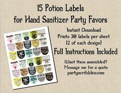15 Wizard Potion Party Favor DIY Labels INSTANT DOWNLOAD