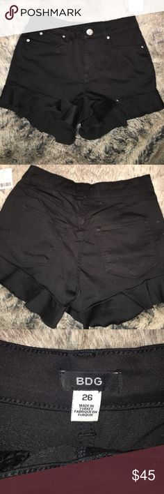 Black Ruffled Urban Outfitters Shorts Black ruffled shorts from Urban Outfitters Urban Outfitters Shorts