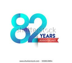 eighty two years anniversary celebration logotype blue colored with red ribbon. 82nd birthday logo on white background