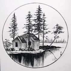 Drawing Scenery, 3d Art Drawing, Nature Drawing, Pencil Sketches Landscape, Landscape Drawings, Cool Pencil Drawings, Art Drawings Sketches Simple, Art Drawings Beautiful, Diy Canvas Art