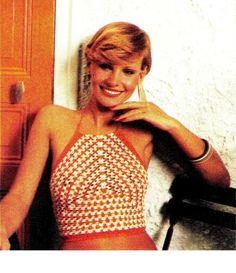 Vintage 70's Crochet Halter Top PDF Pattern  by KinsieWoolShop
