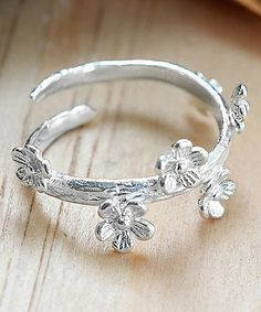 Another great find on #zulily! Sterling Silver Delicate Forget Me Not Adjustable Ring #zulilyfinds