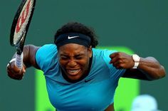 Serena Williams Photos - Serena Williams reacts during a match against Zarina Diyas of Kazakhstan during Day 6 of the Miami Open presented by Itau at Crandon Park Tennis Center on March 2016 in Key Biscayne, Florida. Serena Williams Photos, Crandon Park, Sabine Lisicki, Petkovic, Caroline Wozniacki, Ana Ivanovic, Key Biscayne, Miami, Day