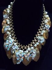 Early Miriam Haskell Necklace*Classic Leaf with Pearl/Crystal Clusters