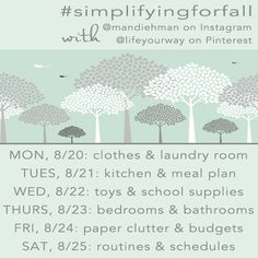 "Psst, this starts next week...are you in?! Join me as I live blog my way through ""fall cleaning"" my home -- on Pinterest (@lifeyourway), Instagram (@mandiehman) and LifeYourWay.net. Join me with your own photos, pins and blog posts! #simplifyingforfall"