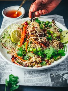 Pad Thai – Thai-Style Stir-Fried Noodles A Recipe of Kasma Loha-unchit Recipe Copyright © 2000 Kasma Loha-unchit. Thai Recipes, Asian Recipes, Vegetarian Recipes, Cooking Recipes, Lunch Recipes, Delicious Recipes, Pad Thai Noodles, Asian Noodles, Shrimp Pad Thai