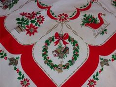 Vintage Cotton Printed CHRISTMAS TABLECLOTH Fireplace Stockings Sleigh Candy