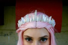 The Glaceon Mermaid Crown Clear Polished Angel Aura Crystal