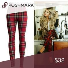 Red plaid print leggings ♡♡♡♡♡♡♡♡♡♡♡♡♡♡♡ NEW ITEM IN MY BOUTIQUE  ♡♡♡♡♡♡♡♡♡♡♡♡♡♡♡  FALL FASHION MUST HAVE  Perfect for the holiday season    Plaid print leggings Pants Leggings