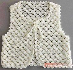 Stricken Anleitung :Crochet vest for your children Crochet Girls, Crochet Baby Clothes, Crochet Lace, Crochet Summer, Crochet Flower, Crochet Jacket Pattern, Knit Baby Sweaters, Crochet Designs, Baby Knitting