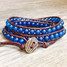Beaded Leather Wrap Bracelet 3 Wrap with Malay Blue Jade Beads on Genuine Brown Leather Summer Bracelet