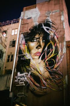 Melbourne Street Art by Matt Adnate Street Wall Art, Urban Street Art, Murals Street Art, Street Art Graffiti, Mural Art, L'art Du Portrait, Portraits, Banksy, Street Art Melbourne