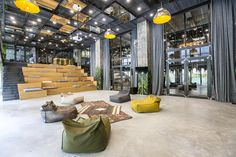 kolektifhouse has unveiled its latest shared office concept in istanbul, designed by kontra architecture. Industrial Office Space, Cool Office Space, Office Space Design, Workplace Design, Office Interior Design, Gym Design, Design Ideas, Office Spaces, Coworking Space