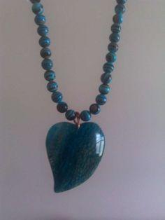 Handmade Blue Agate Heart Pendant On Turkish Turquoise Beaded Jewelry $20