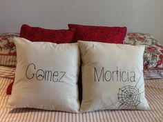 Kooky Gomez and Morticia Addams cushion by CreativelyCouture, $45.00