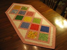 Quilted Table Runner Table Top Quilt Table by DollPatchworks, $42.00