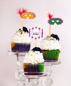 Colorful Mardi Gras Cupcakes By Craft Gossip -- see more at LuxeFinds.com