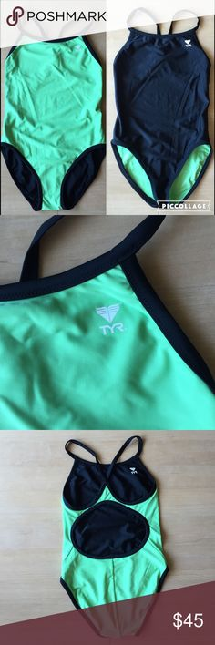 TYR Reversible Swimsuit NWOT | Green Black | 36 New without tag. Design is a racing/training suit. Size 36, which is women's 10-12 or L. Fit is slightly tighter than casual suits. Reversible with bright green and black sides. Thicker than average with two layers of swimsuit material, I go up a size in these compared to standard TYR suits. About 80% nylon/20% Lycra. Hand wash, hang dry. Smoke free/pet free home. No trades. TYR Swim One Pieces