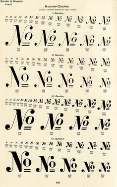 This page of tastefully arranged number signs comes from a type specimen book issued by the Schelter & Giesecke foundry of Leipzig, around 1900