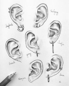 The completed bangtan ear study! Can you recognize your bias's ear Kpop Drawings, Pencil Art Drawings, Art Drawings Sketches, Realistic Drawings, Drawing Techniques, Drawing Tips, Drawing Reference, Nose Drawing, Mouth Drawing