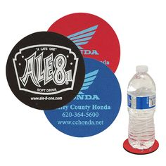 This custom coaster features a thick rubber base. Made of soft jersey polyester fabric on the top surface. Soft surface for maximum liquid absorption makes for a great promotional coaster! Thing 1, Custom Coasters, Drinkware, Water Bottle, Surface, Base, Drinks, Fabric, Top