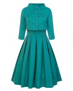 Tyrkysový brokátový set Lindy Bop Marianne Krásný set složený z šatů a  krátkého sáčka vhodný pro c0f3e034ec