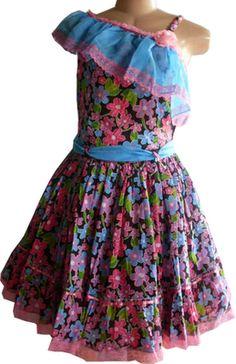 Vestido Festa Junina Adulto Estampado Floral Vermelho e