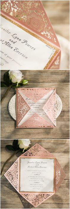 elegant rose pink laser cut wedding invitations with a touch of glitter gold ewws105