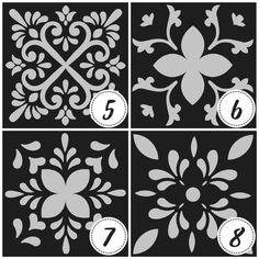 Stencils, Rose Stencil, Korean Painting, Silhouette Art, Stencil Designs, Mosaic Art, Pottery Art, Surface Design, Origami