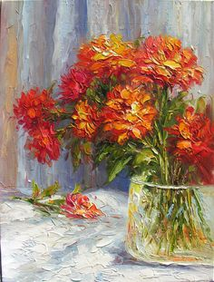 ORIGINAL Oil Painting Fire Love 18 x 24 Palette Knife Colorful Red Field Flowers Vase Bouquet Textured  by Marchella. $185.00, via Etsy.