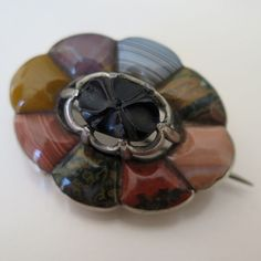 Antique Victorian Sterling Silver Scottish Pebble Agate Brooch Pin Pendant