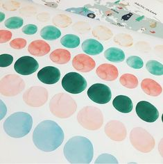 """Our watercolour dot decal packs allow you to adapt the placement to suit any space. They also make me sing """"with a spot over here, and a spot over there, and a lot of little spots everywhere, everywhere, it's a spotty kind of day"""" every time I put them up! Kids Wall Decals, Watercolour, Dots, Suit, Space, Abstract, Artwork, How To Make, Pen And Wash"""