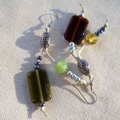 Green Brown square glass beads with natural hemp string by Mouflon, Handmade Jewellery, Unique Jewelry, Handmade Gifts, Green And Brown, Hemp, Glass Beads, Drop Earrings, Personalized Items, Trending Outfits