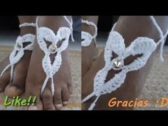 Accesorio para los pies *crochet Barefoot Sandals* Crochet Shoes, Crochet Videos, Bare Foot Sandals, Spring Time, Barefoot, Crochet Necklace, Pattern, Jewelry, Women