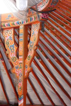 Roof posts inside a Mongolian ger (more pics at the link).