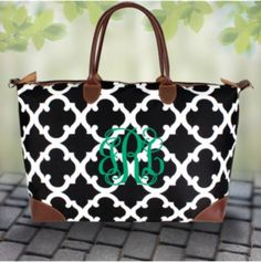Black Moroccan Geometric Large Tote Bag by SewPretty1Shop on Etsy