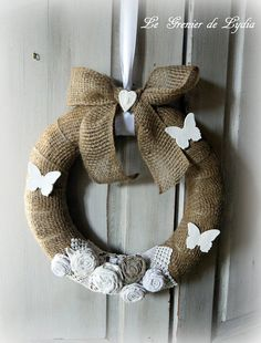 Jute Crafts, Coups, Burlap Wreath, Creations, Shabby, Christmas Decorations, Lost, Sewing, Fall