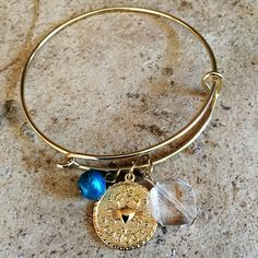 """FINAL PRICE‼️Gold Tone/Bead/Cancer Charm Great holiday gift! Gold Tone Bracelet, Bead & Cancer Charms. 2.5"""" across. Buy a jewelry holder/case from closet to go with this gift! Smoke free home ❌No trades, holds, or PayPal I'm Now On Instagram! @caligirlinmnposh Jewelry Bracelets"""