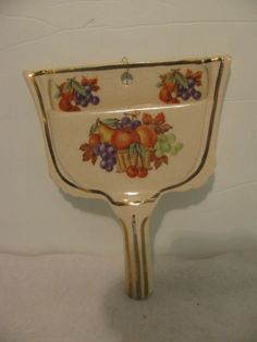 Vintage Dust Pan Ceramic Pottery Wall Pocket with Fruit Pattern | eBay