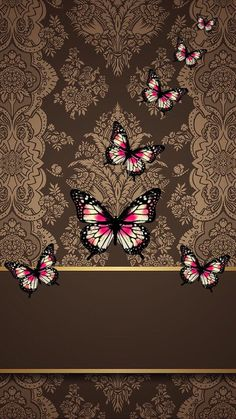 Briwn gold butterflies