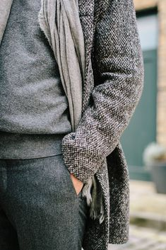 Shades of Charcoal Grey, tweed, cashmere, lambs wool, flannel, Men's Fall Winter Fashion.