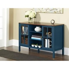 10 Spring Street Hinsdale 2-Door with Center Shelves Console Cabinet, Deep Teal
