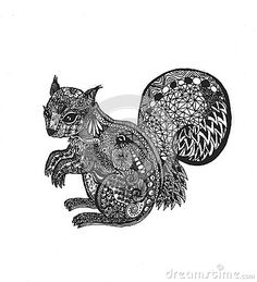 Hand Drawn Outline Doodle Illustration Of A Squirrel Decorated With Zentangle Ornaments