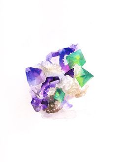 Amethyst with Fluorite- Original Watercolor Painting