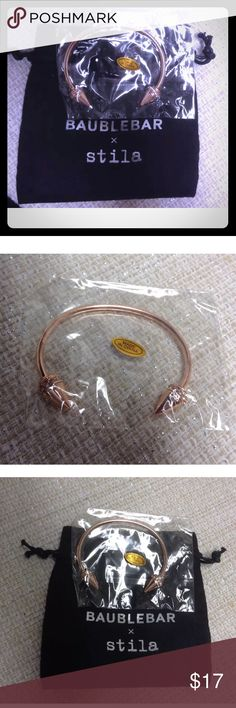 Stila x Baublebar Rose Gold Pave Bangle bracelet! 💖 Beautiful Rose Gold Tone and Pave Bangle Cuff bracelet from Baublebar! Brand new and sealed in original plastic packaging and with black drawstring bag!  Baublebar and Stila collection. baublebar Jewelry Bracelets